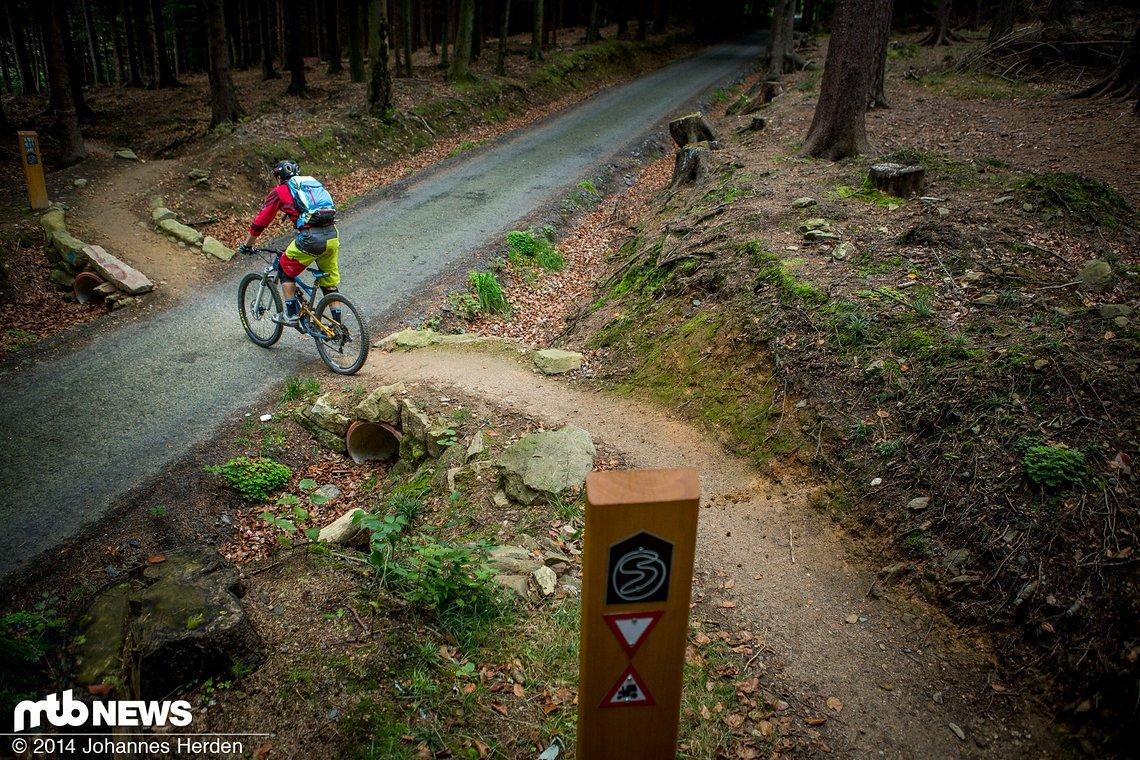 Schön gelöst: So kreuzen die Singltrek-Pfade die wenigen Straßen im Wald.