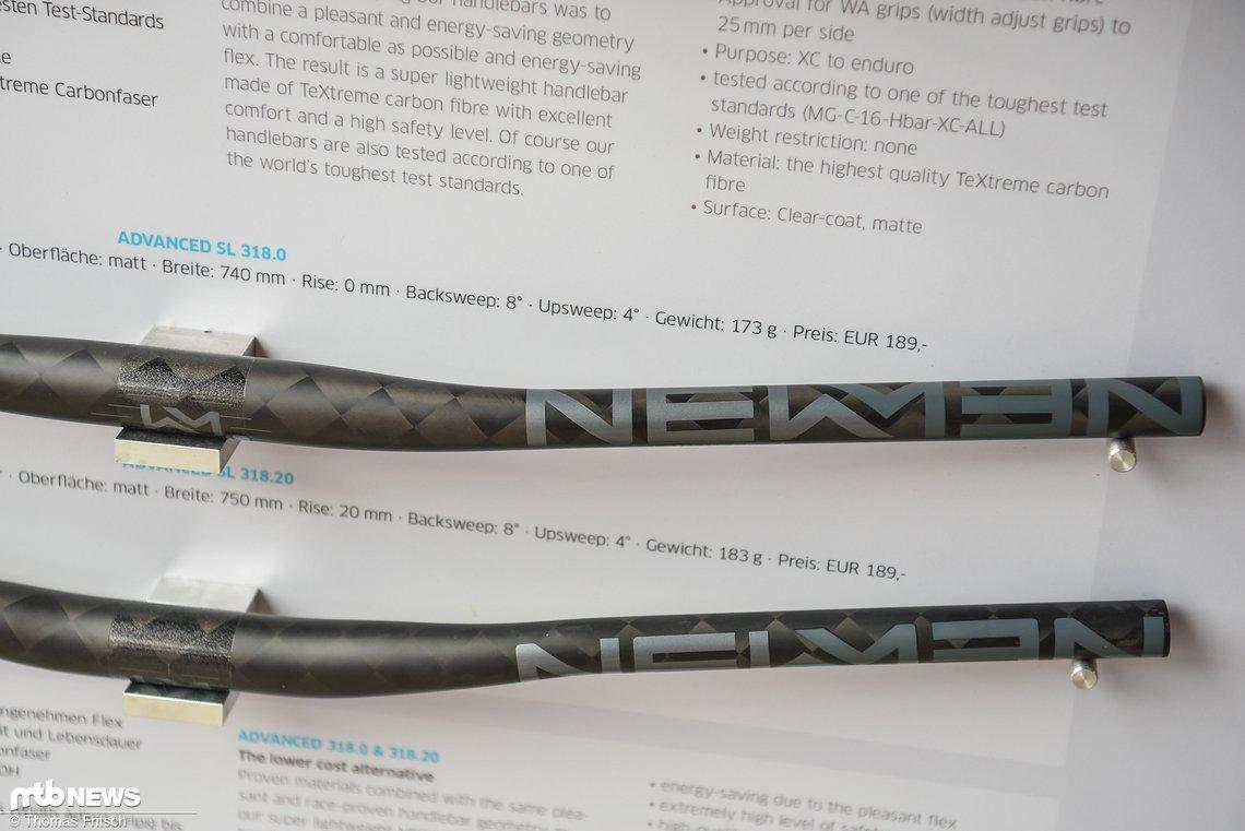 Flat- und Riserbar aus Carbon für 189 € bei einem Gewicht von 173 g bzw. 183 g.