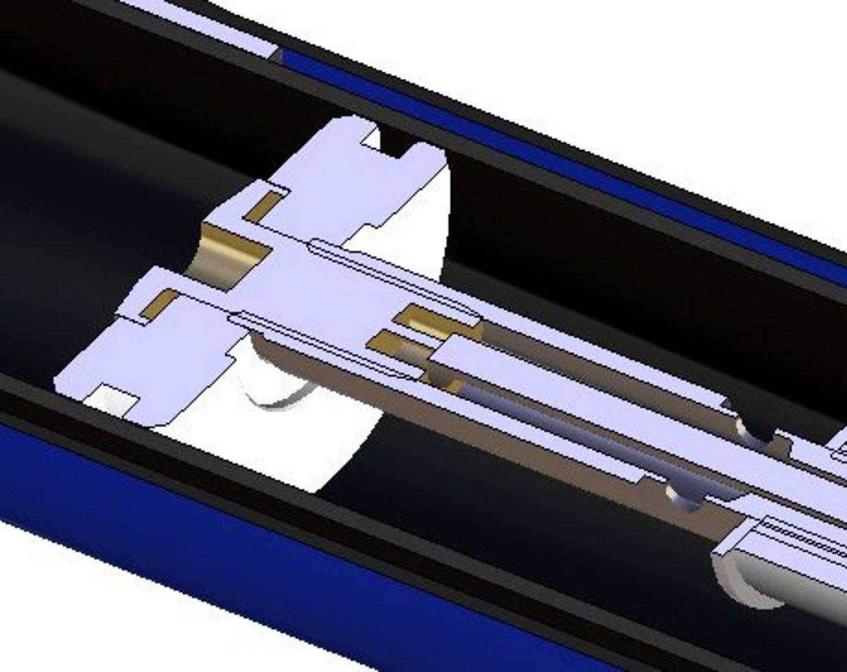 Die beiden Luftkammern sind über ein Autoventil miteinander verbunden, beim Aufschrauben der Gabelpumpe werden beide Kammern geöffnet