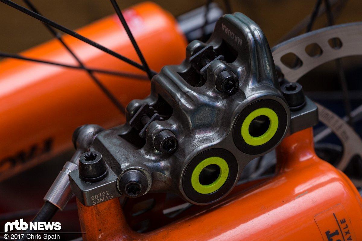 Wie gewohnt verfügt die Magura MT7 über vier einzelne Bremsbeläge