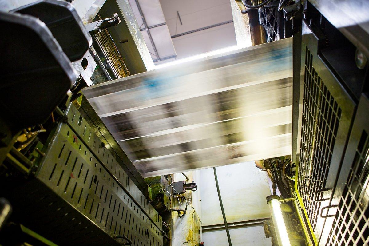 Bis zu 13 m in der Sekunde legt das Papier in der Maschine zurück.