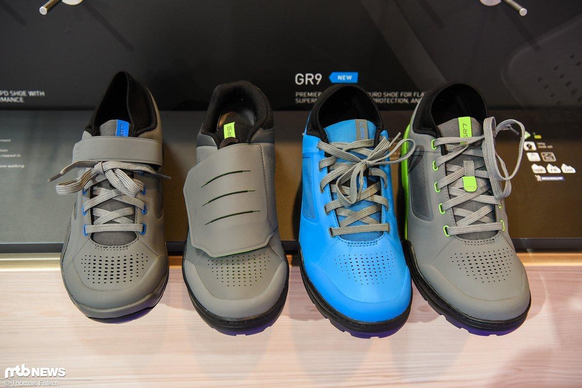 Der neue Shimano GR 7 (die beiden rechten Schuhe im Bild)