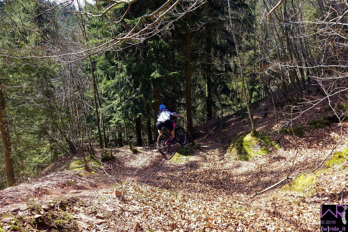Hartes Bremsen vor Eingang in steile Linkskurve