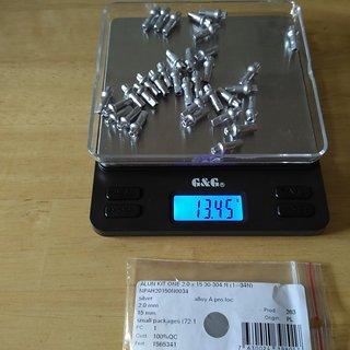 Gewicht DT Swiss Speichennippel Pro Lock Squorx Pro Head Aluminium 34x, 2mm, 15mm