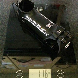 Gewicht Ritchey Vorbau WCS 31.8mm, 90mm, 6°