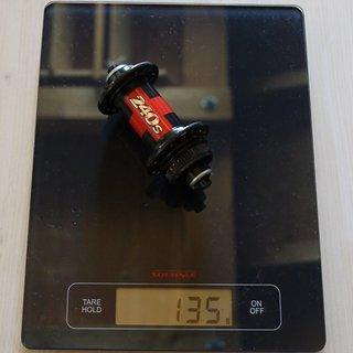 Gewicht DT Swiss Nabe 240s 100mm/QR, 32-Loch