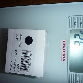 Gewicht DT Swiss Speichennippel Standard Aluminium 100x, 2mm, 12mm