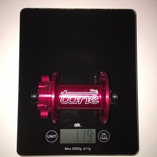 Gewicht Tune Nabe King 100mm/QR15, 28-Loch