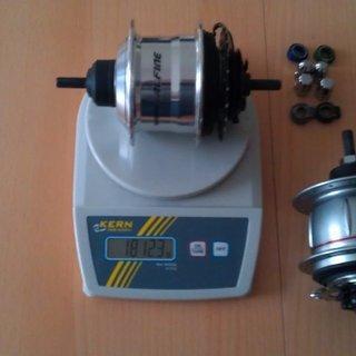 Gewicht Shimano Nabenschaltungen ALFINE 11-Gang SG-S700 36 Loch