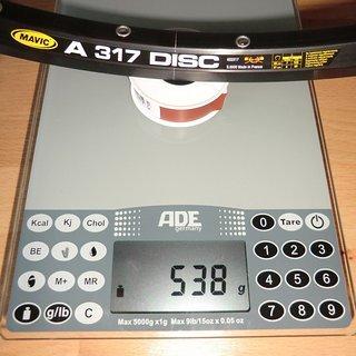 "Gewicht Mavic Felge A 317 Disc 28"" / 622x17 / 32 Loch"