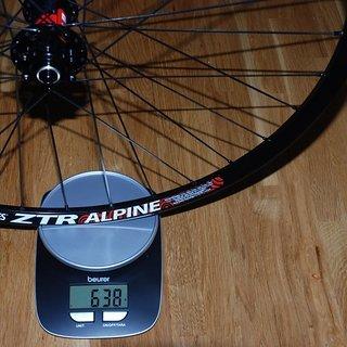 """Gewicht DT Swiss Systemlaufräder 240s + ZTR Alpine + Aerolite 26 """", VR, 100mm/QR"""