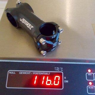 Gewicht XtasY Vorbau Piranha 25.4, 80mm, 6°
