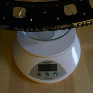 "Gewicht SunRingle Felge Mulefut 80SL 26"" / 559x75 / 32 Loch"