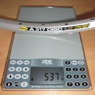 "Gewicht Mavic Felge A 317 Disc 28"" / 622x17 / 36 Loch"