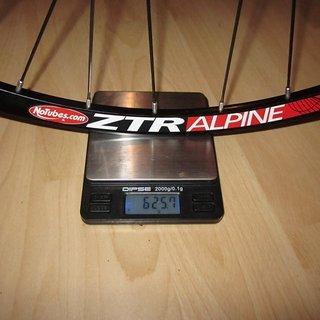 Gewicht DT Swiss Systemlaufräder 240s + ZTR Alpine VR, 100mm/QR