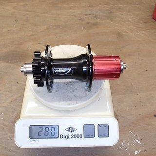Gewicht Veltec Nabe SL Disc rear 135mm/QR, 32-Loch