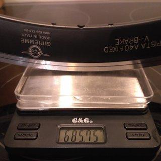 "Gewicht Gipiemme Felge Pista A40 fixed V-Brake 28"" / 622x13,5 / 36 Loch"