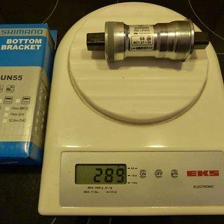 Gewicht Shimano Innenlager BB-UN55 4-Kant, 68/107mm, BSA
