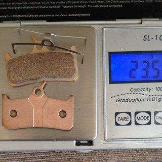 Gewicht Clarks Bremsbelag VRX801C Sintered Cleg DH - Shimano XT (BR-M755) - Grimeca 8/12 - Hope Mono 4/5