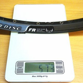 "Gewicht WTB Felge LaserDisc FR  26"", 559x24, 32 L"