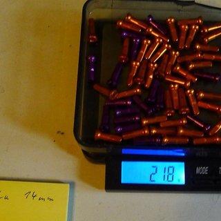 Gewicht Sapim Speichennippel Polyax Alu 64x, 2mm, 14mm