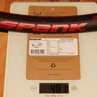 """Gewicht Spank Felge OOZY 350 27.5"""""""