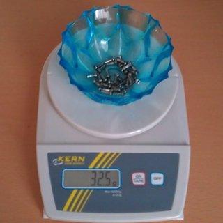 Gewicht Sapim Speichennippel Polyax Messing 32x, 2mm, 12mm
