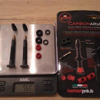 Gewicht Barbieri Weiteres/Unsortiertes CarbonAria Presta, 45mm, 2 Stück