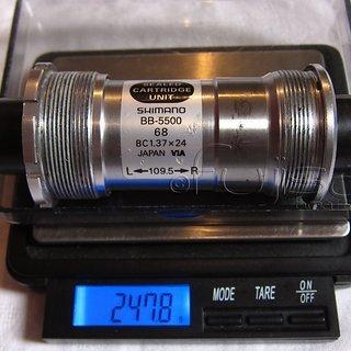 Gewicht Shimano Innenlager 105 BB-5500 Octalink, 68/109.5mm, BSA