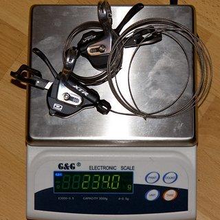 Gewicht Shimano Schalthebel XTR SL-M980  3x10-fach