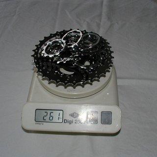 Gewicht Shimano Kassette XT CS-M760 9-fach, 11-32Z