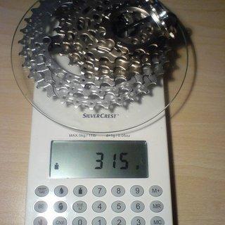 Gewicht Shimano Kassette SLX/LX CS-HG80 9-fach, 11-34Z