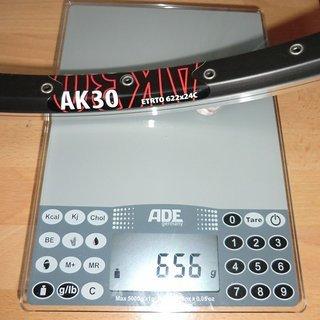 """Gewicht Ambrosio Felge AK30 28"""" / 622x24 / 36 Loch"""