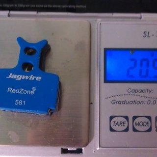 Gewicht Jagwire Bremsbelag RedZone Extreme 581 R1, RX, The One, Mega