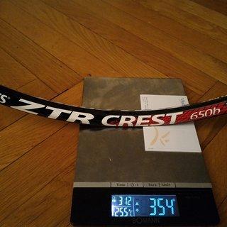 "Gewicht Notubes Felge ZTR Crest 650b 27,5"", 584 x 21"
