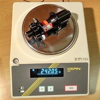 Gewicht DT Swiss Nabe 240s IS RW 142mm/12, 32-Loch
