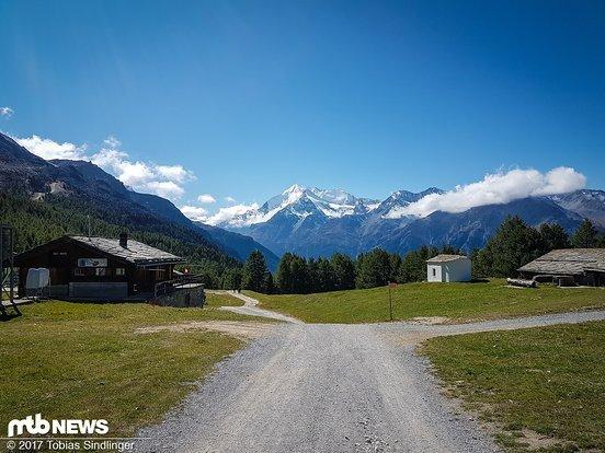 Was für eine Aussicht! Beim Start auf der Hannigalp wurde uns Bikern ein super Alpenpanorama geboten.