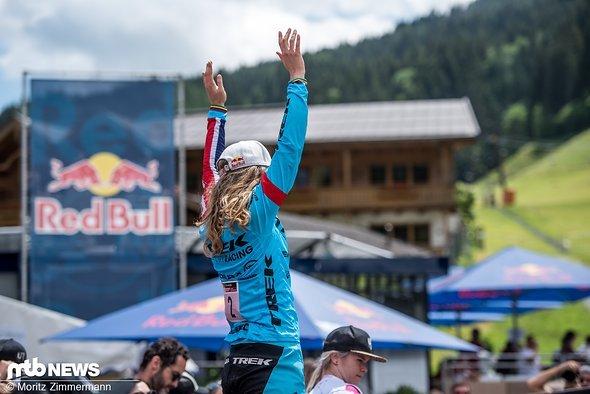 … und Freude bei Rachel Atherton über ihren Sieg!