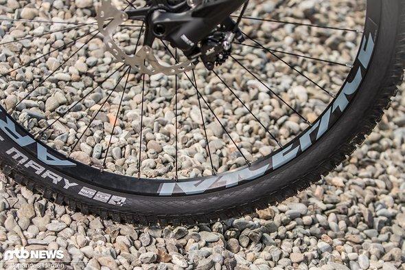 Die Laufrad-Kombination aus breiten Race Face ARC 30-Felgen und Shimano XT-Naben ist sehr solide