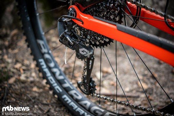 Wie an allen anderen Bikes in unserem Vergleichstest findet man auch am Trek Slash die beliebte SRAM Eagle-Schaltung