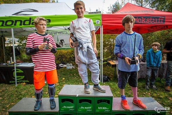 Das Podium der Kids zwischen 10 und 13: 1. Joel Wagner, 2. Yannick Nübling, 3. Max Hanselmann