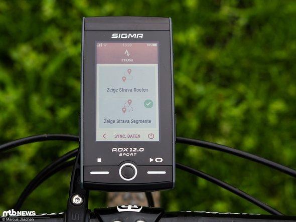 Zugriff auf Strava-Routen ist direkt auf dem Gerät möglich