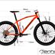 Bike CAD Geometriezeichnung mit Silhouette des Rades. Hier für das einhorn 650b AM.